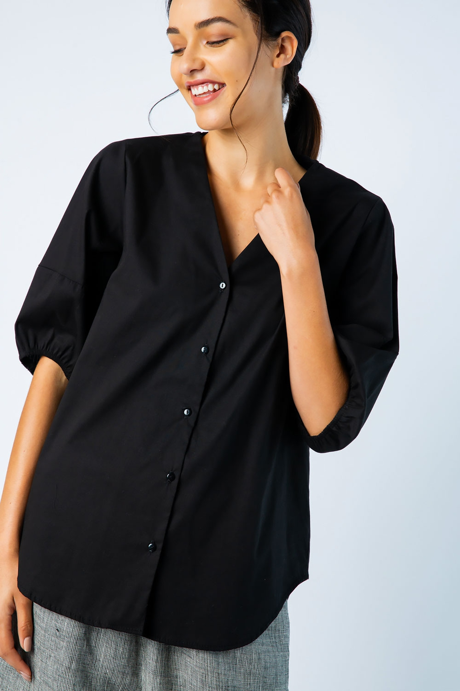 POPLIN BUTTON DOWN PUFF SLEEVES TOP - orangeshine.com