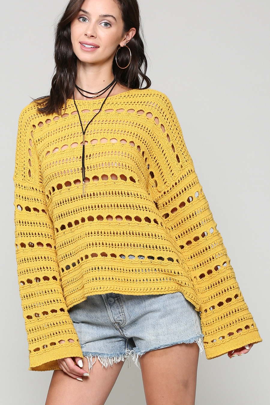 LOOSE CROCHET PULLOVER WITH BELL SLE - orangeshine.com