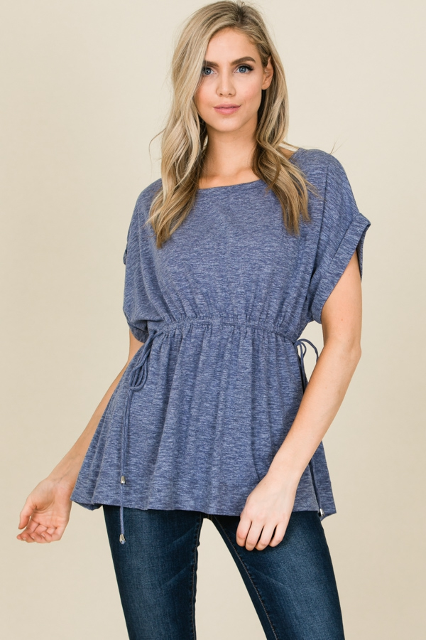 Cap Sleeve Smocked Waist Top - orangeshine.com