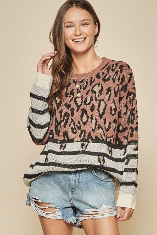 LEOPARD KNIT SWEATER - orangeshine.com