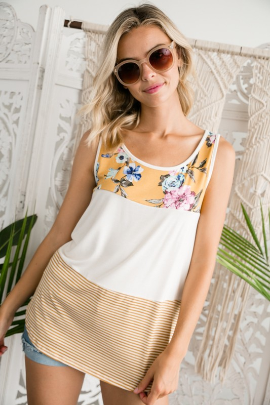PLUS STRIPE FLORAL MIXED TOP - orangeshine.com