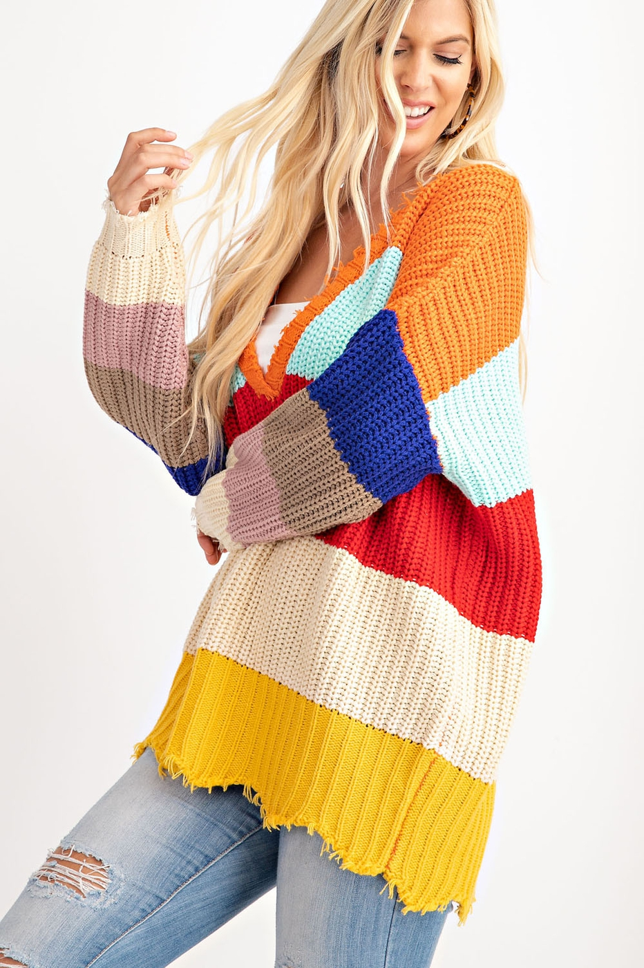 MULTI COLOR BLOCK LOOSE FIT SWEATER - orangeshine.com