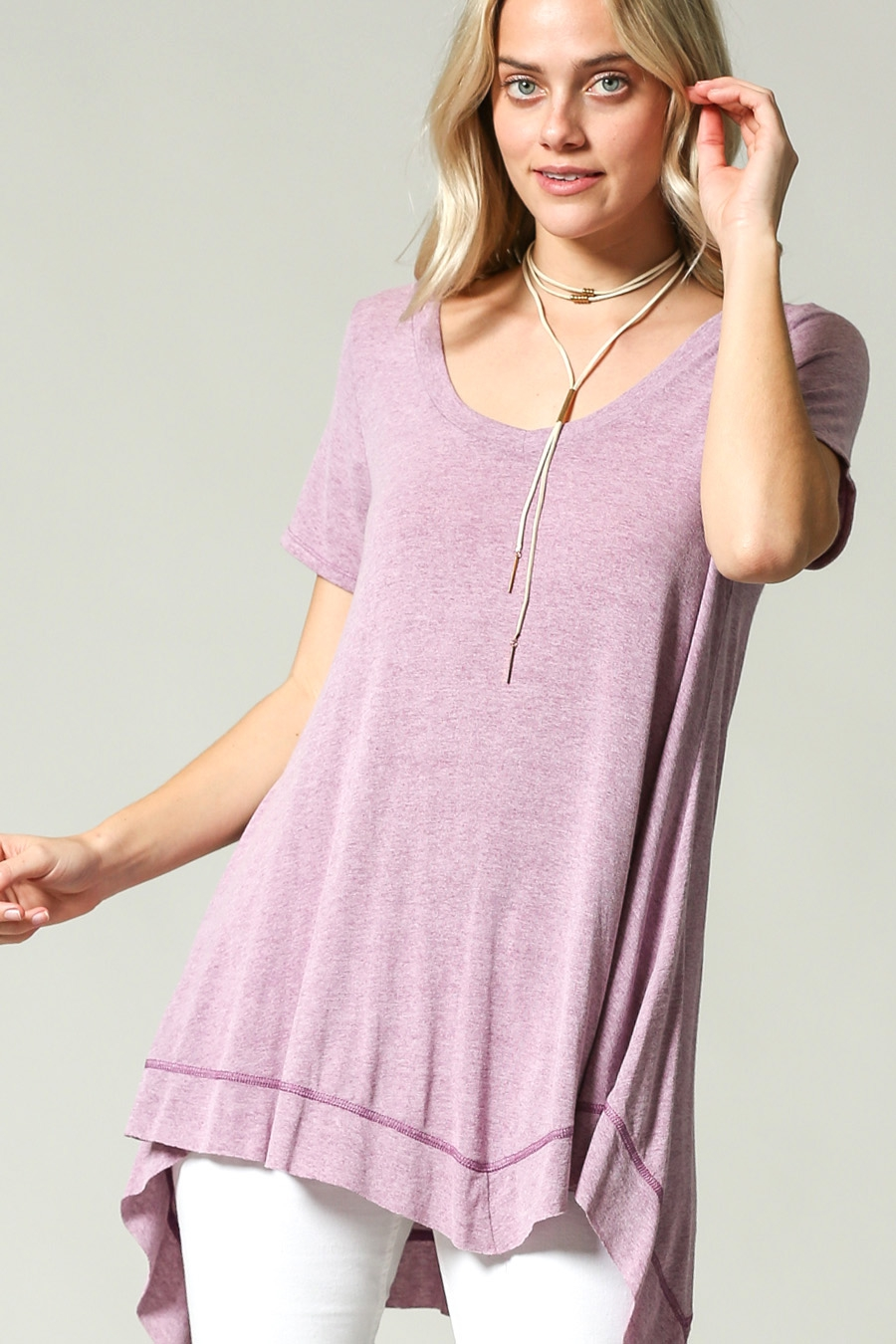 LONG A LINE V SHAPE HEM TUNIC - orangeshine.com