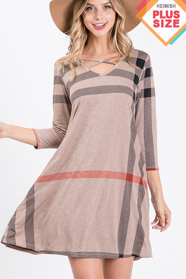 PLUS CRISSCROSS PLAID PRINT DRESS - orangeshine.com