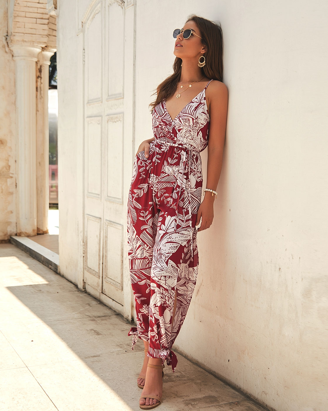 SLEEVELESS V NECK  SELF BELT FLORAL - orangeshine.com