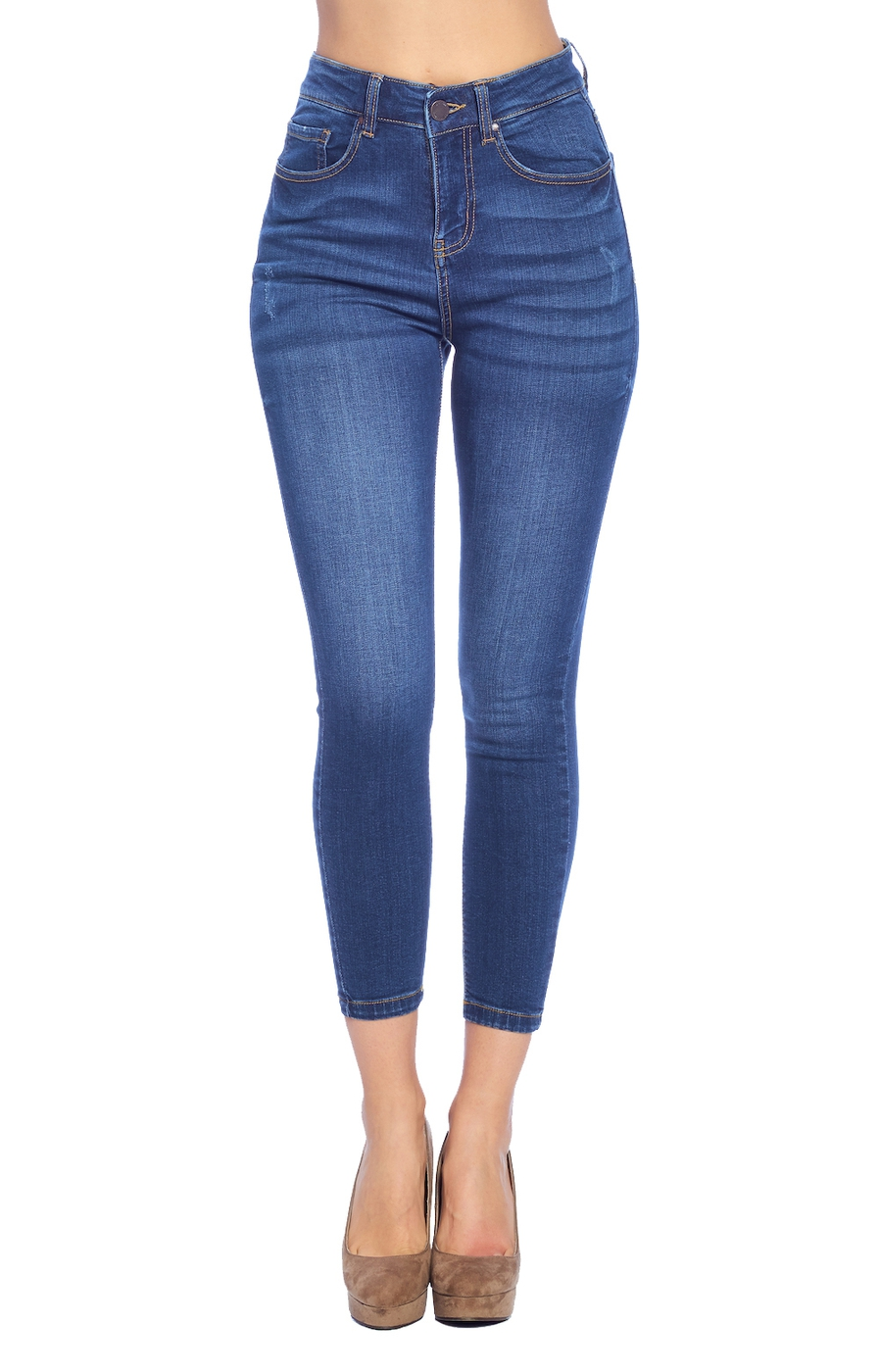 High Rise Ankle Jeans - orangeshine.com