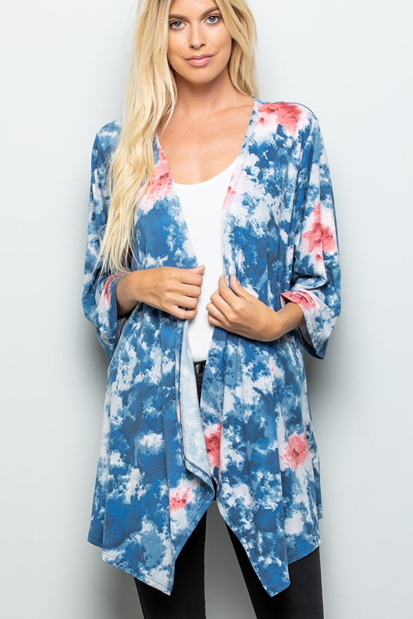 MULTI COLOR TIE DYE PRINT CARDIGAN  - orangeshine.com