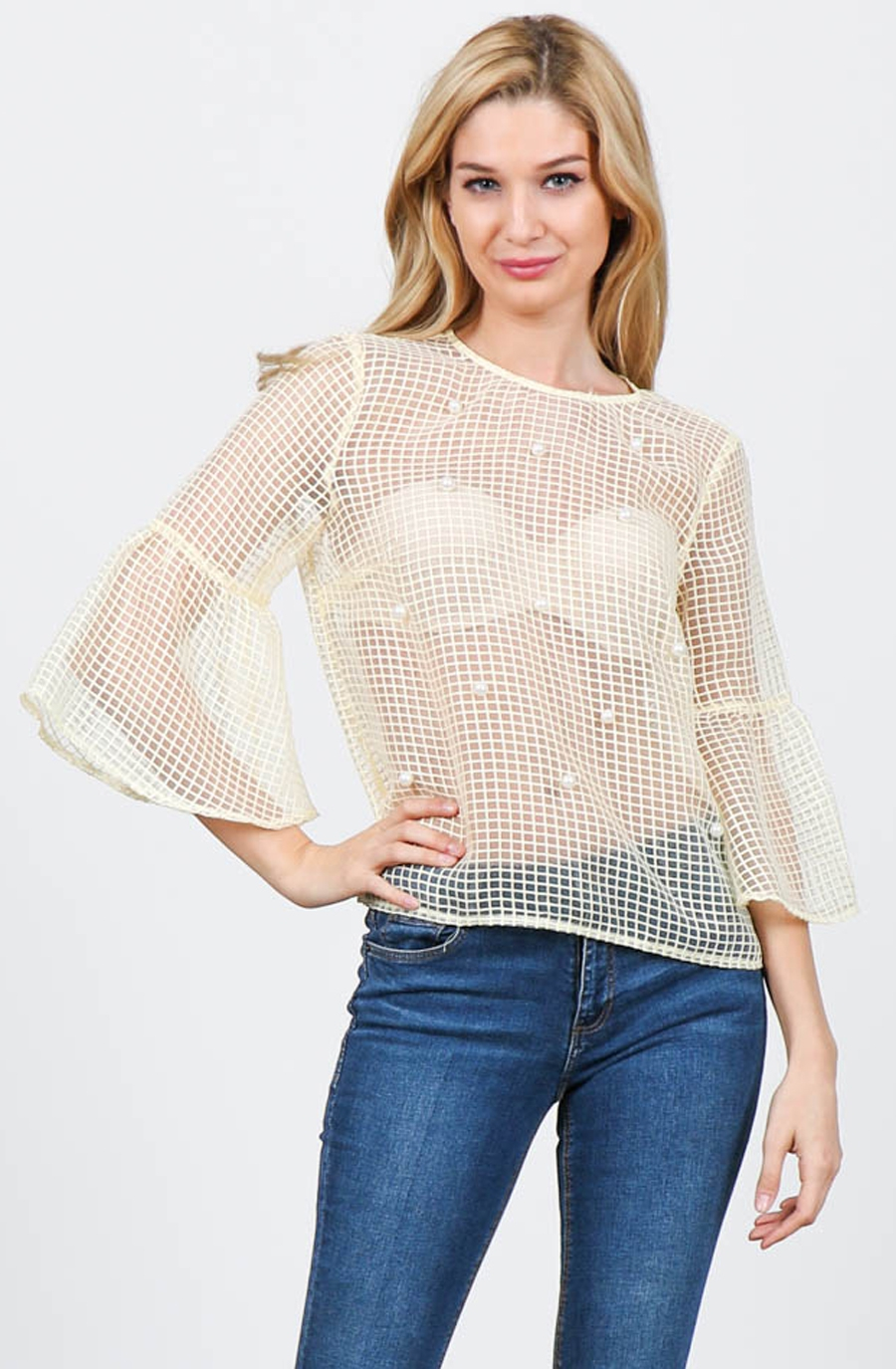 Sheer Pearl Embellished Top with Qua - orangeshine.com