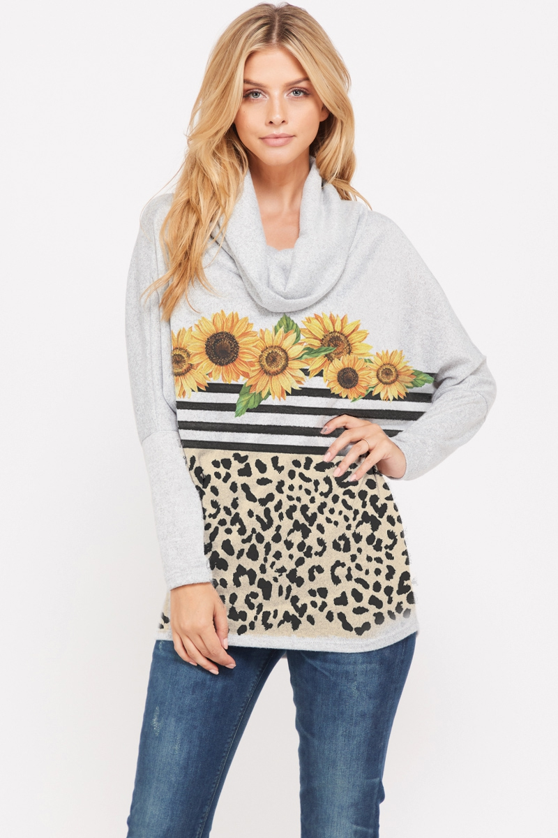 Leopard with sunflowers cowl neck  - orangeshine.com
