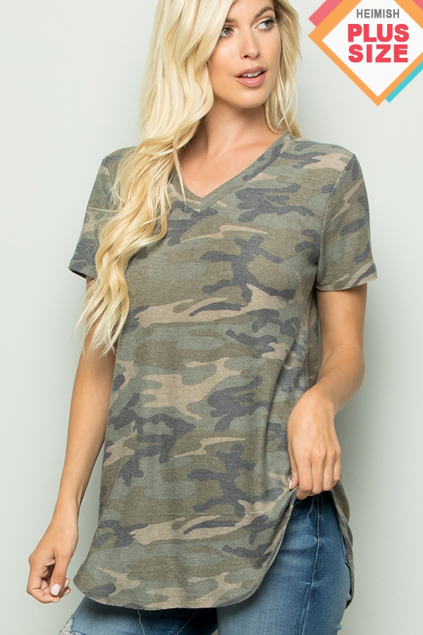 PLUS SHORT SLEEVE V NECK CAMO TOP - orangeshine.com