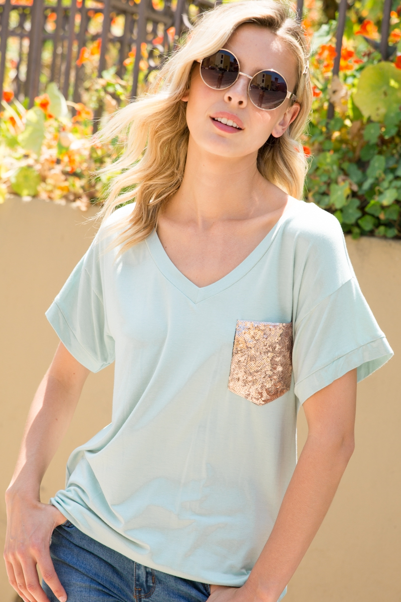 SEQUINCE POCKET SHORT SLEEVE TOP - orangeshine.com