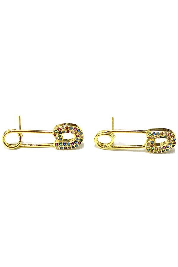 Brass safety pin post earrings - orangeshine.com