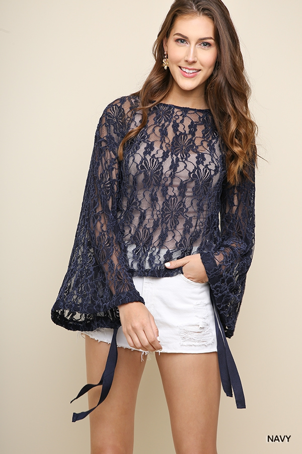 Sheer Floral Lace Bell Sleeve Top - orangeshine.com