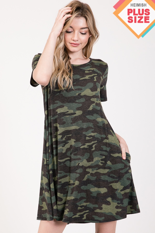 CAMO PRINT DRESS WITH SIDE POCKET PL - orangeshine.com