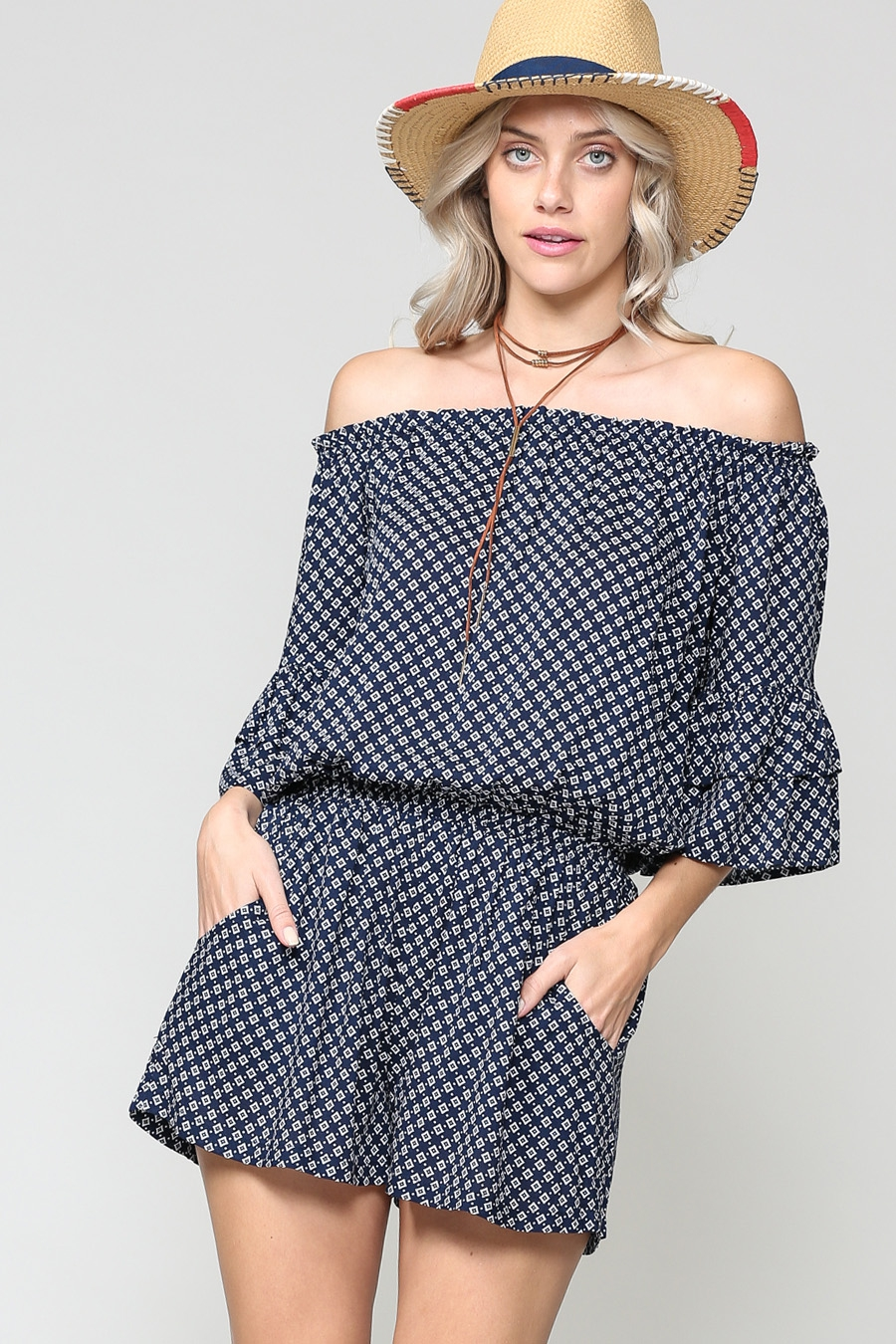 LIGHTWEIGHT OFF SHOULDER ROMPER - orangeshine.com