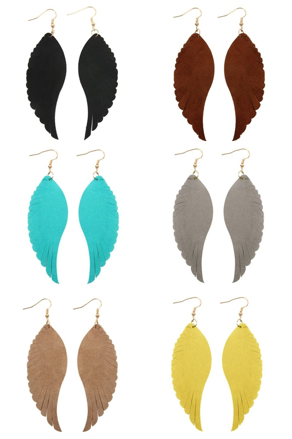 WINGS SHAPE LEATHER HOOK EARRINGS - orangeshine.com