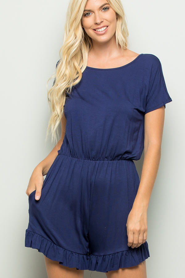 SOLID RUFFLED JUMPSUIT WITH POCKET - orangeshine.com