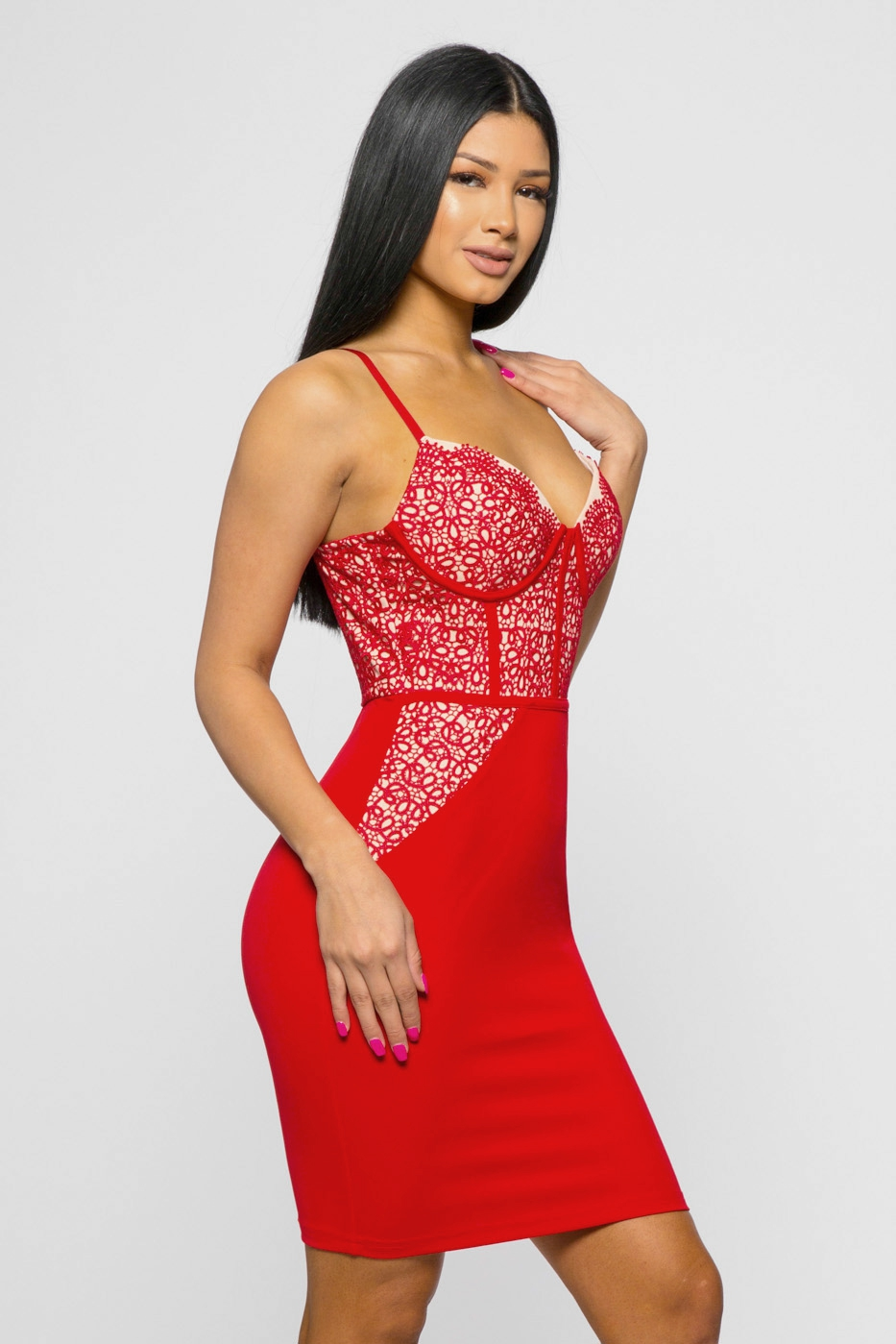 LACE DETAIL BUSTIER BODYCON - orangeshine.com