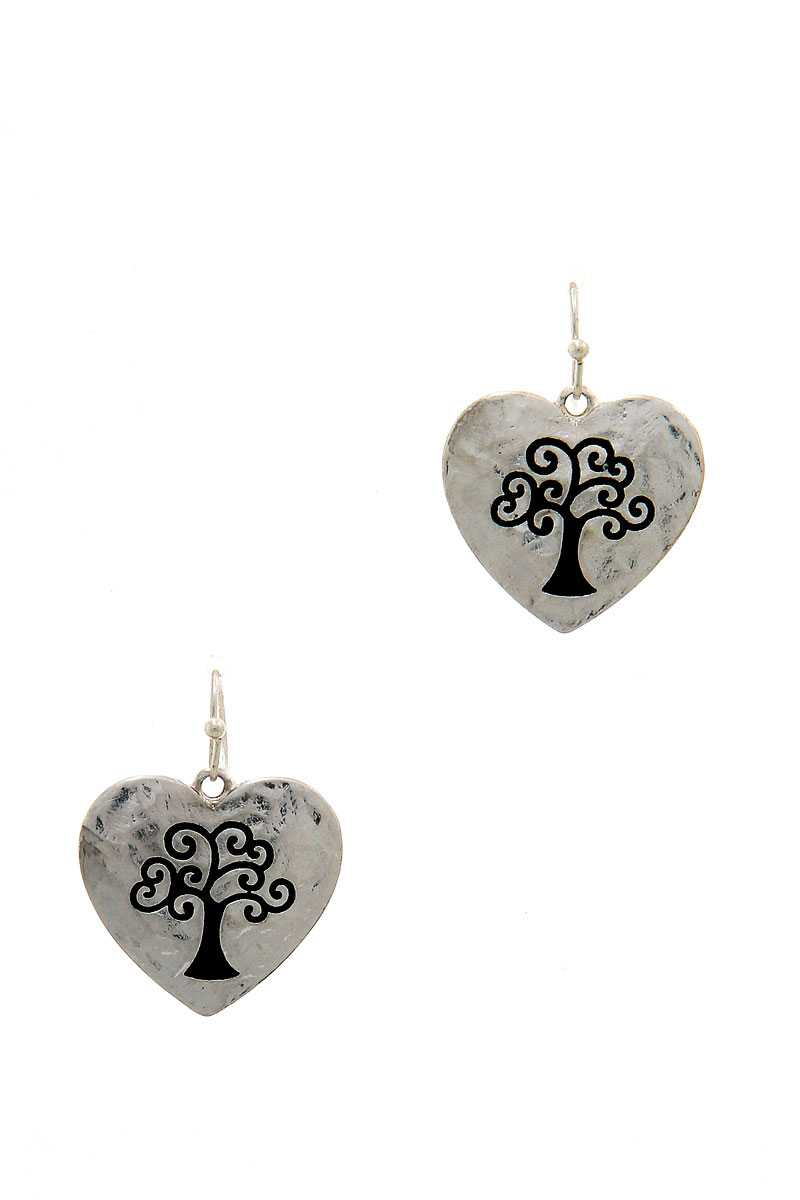 TREE ENGRAVED HEART DROP EARRING - orangeshine.com