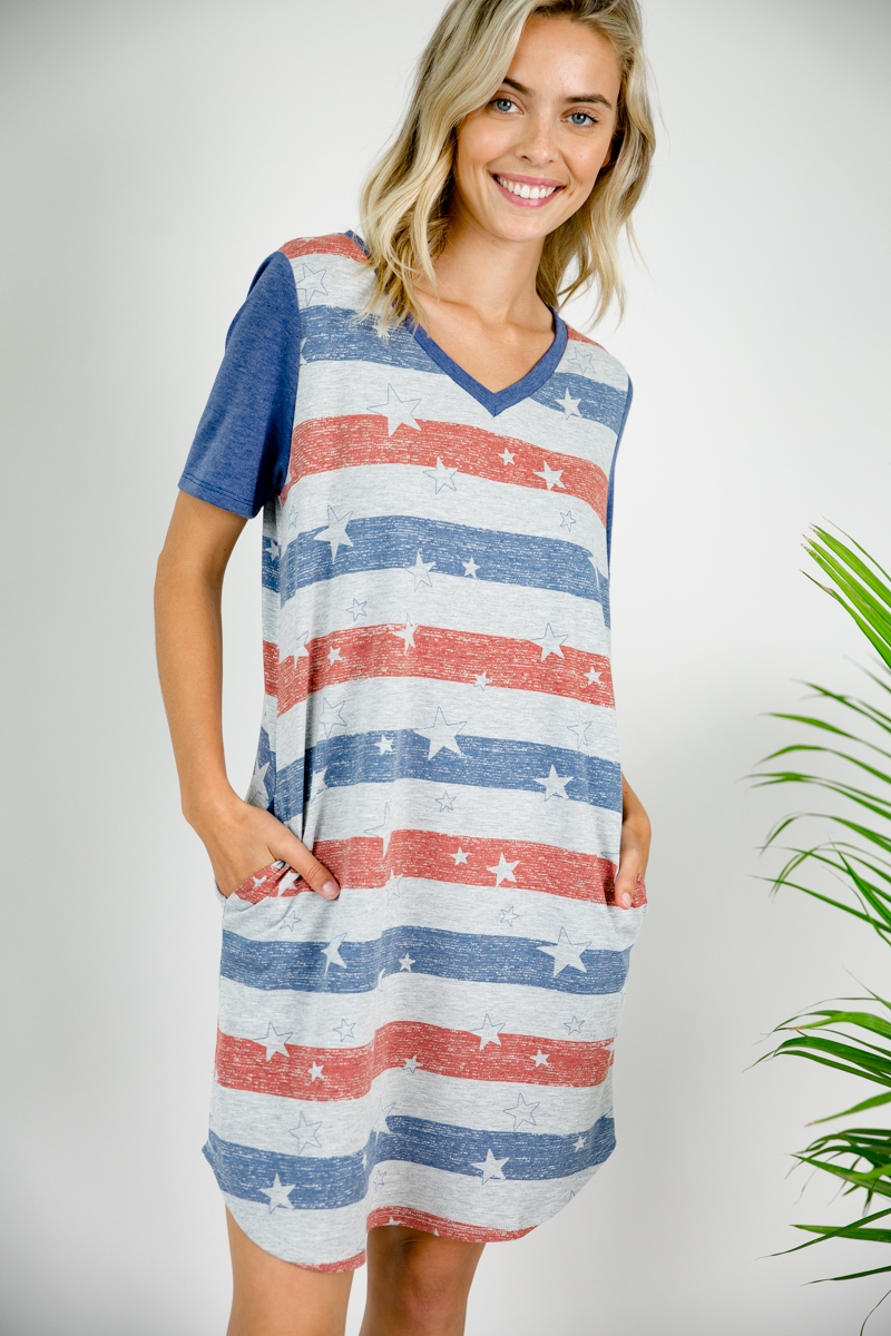 AMERICAN FLAG PRINT SHIFT DRESS - orangeshine.com