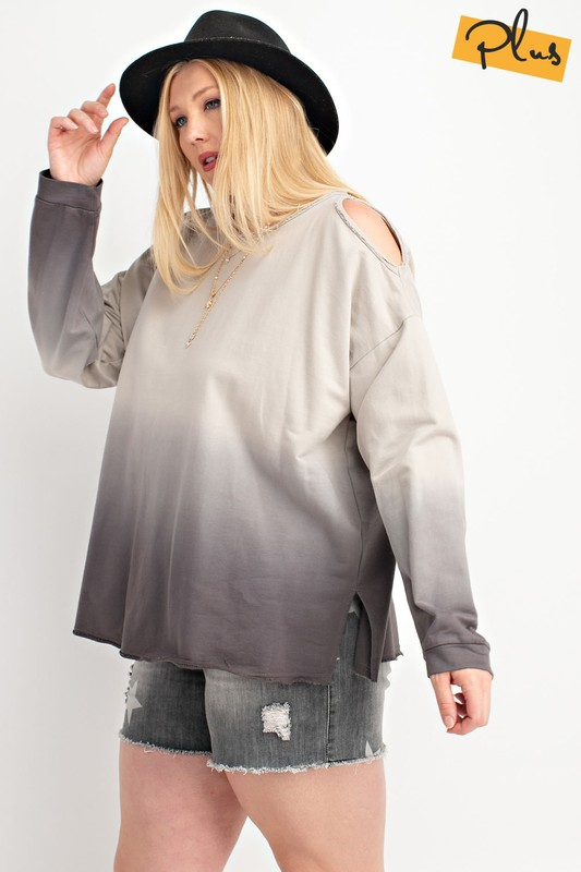 PLUS SIZE COLD SHOULDER SWEATSHIRT - orangeshine.com