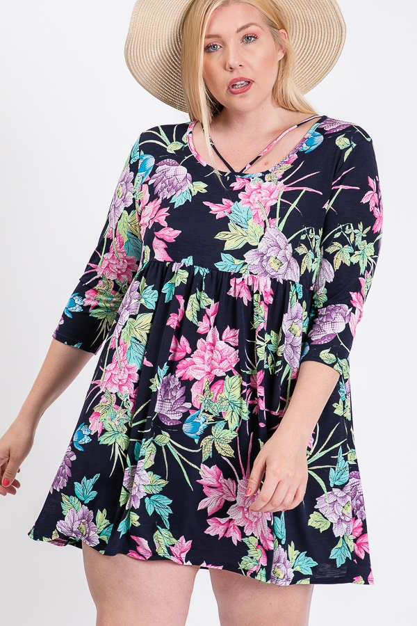 Plus Size Cross Strap Floral Dress - orangeshine.com