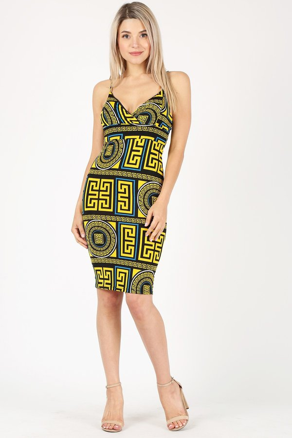 GEO PRINT BODYCON DRESS - orangeshine.com