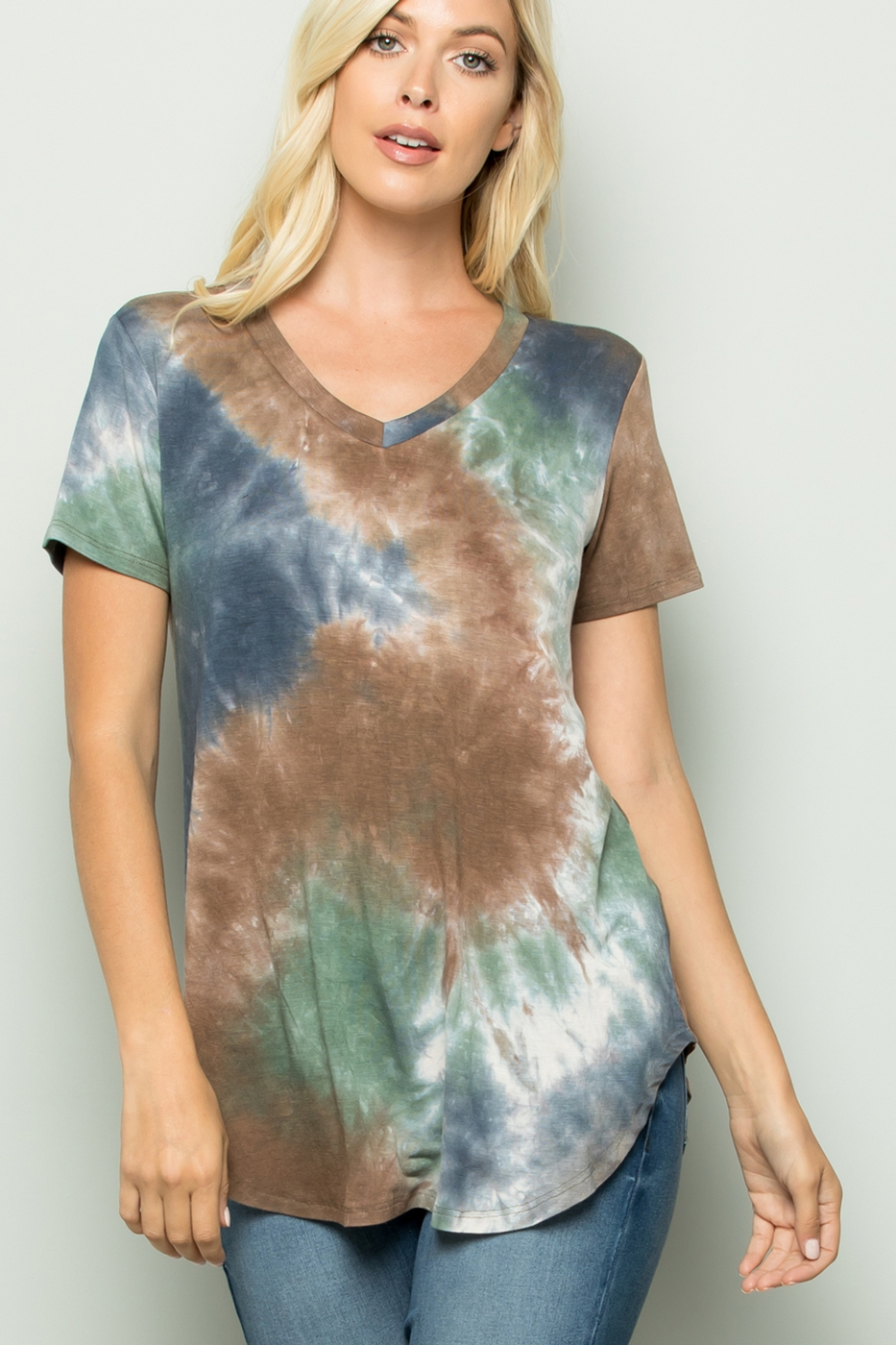 V NECK TIE DYE PRINT TOP - orangeshine.com