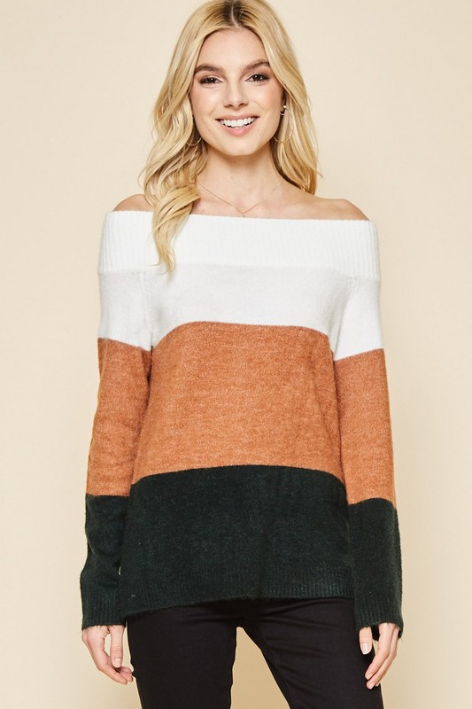 OFF SHOULDER COLORBLOCK SWEATER - orangeshine.com