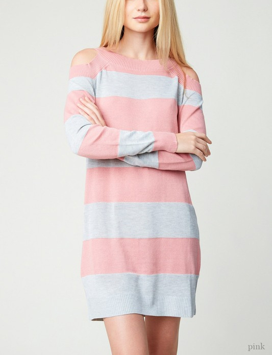Striped Cold Shoulder Sweater Dress - orangeshine.com