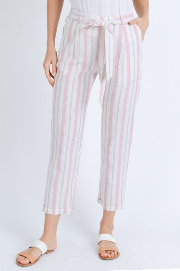 Striped  Linen blended Pants - orangeshine.com