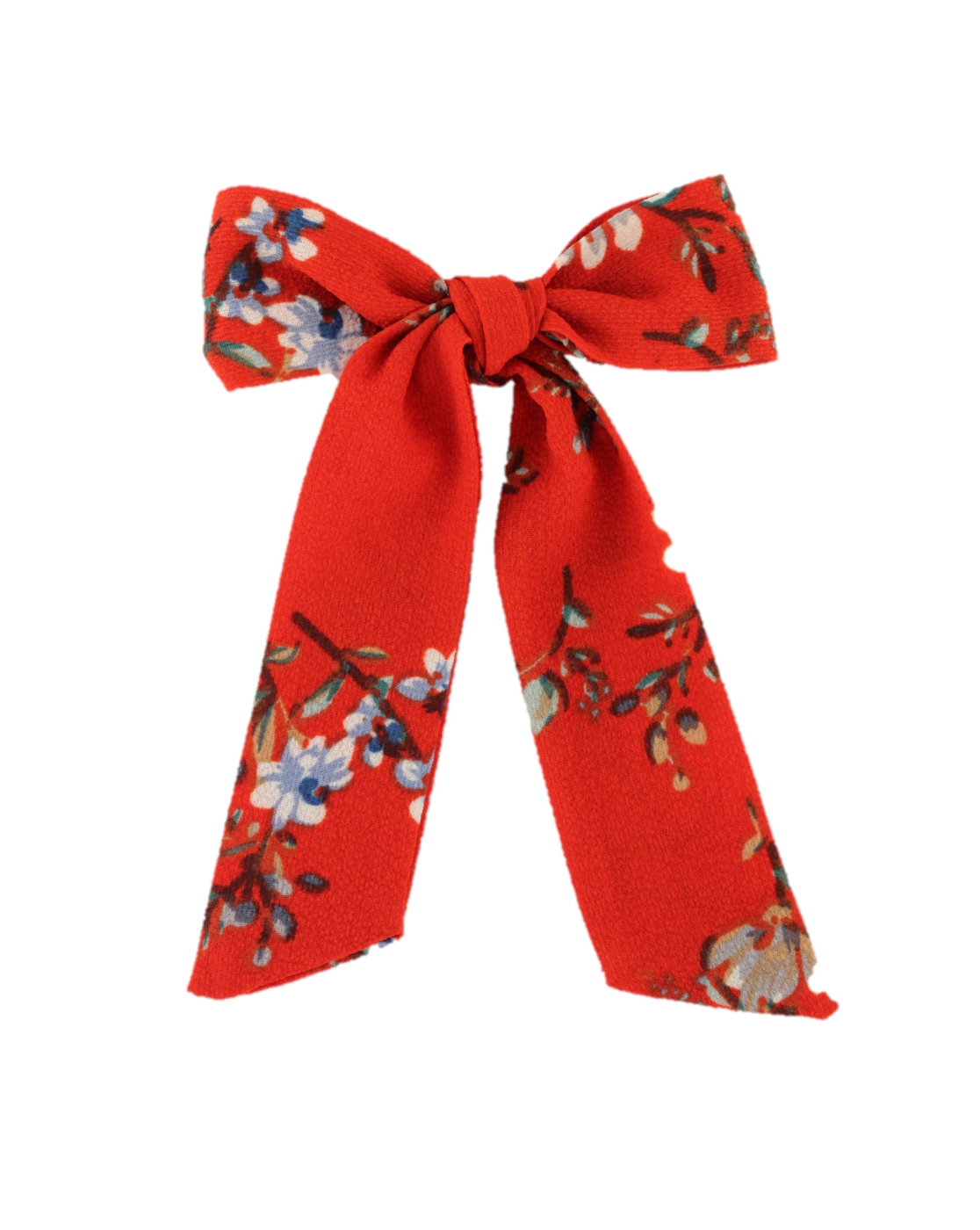 Red Floral Bow Scrunchie - orangeshine.com