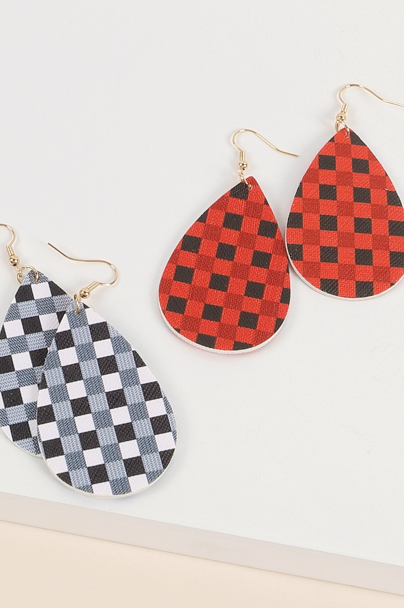 Checkered Print Tear Drop Earrings - orangeshine.com