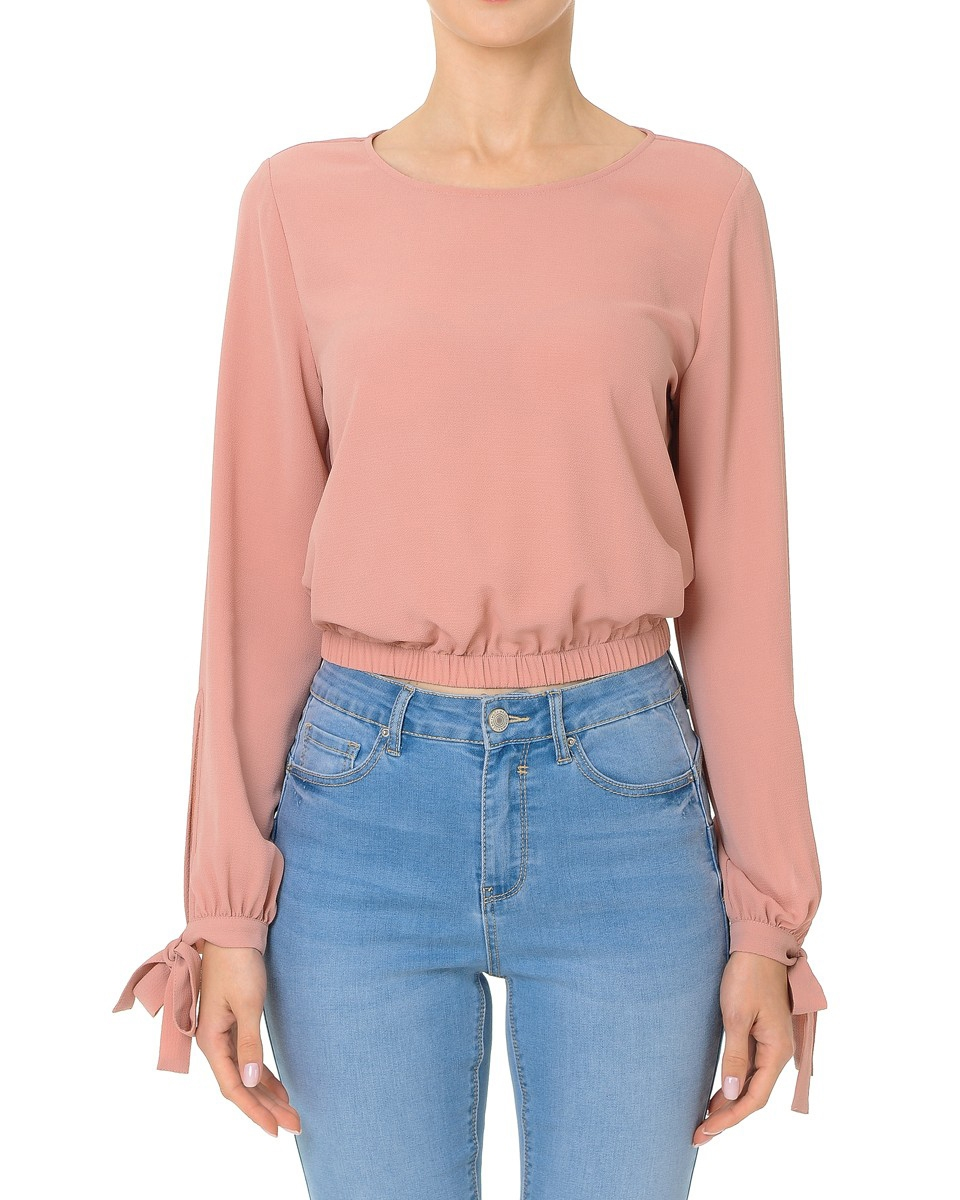 TIE SLEEVE ROUND NECK CROP TOP - orangeshine.com