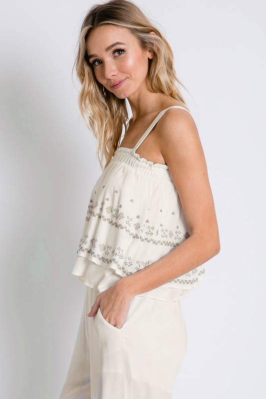 SUMMER WHITE EMBROIDERED CAMI AND PA - orangeshine.com