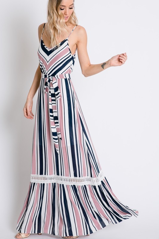 STRIPED CAMI MAXI DRESS - orangeshine.com