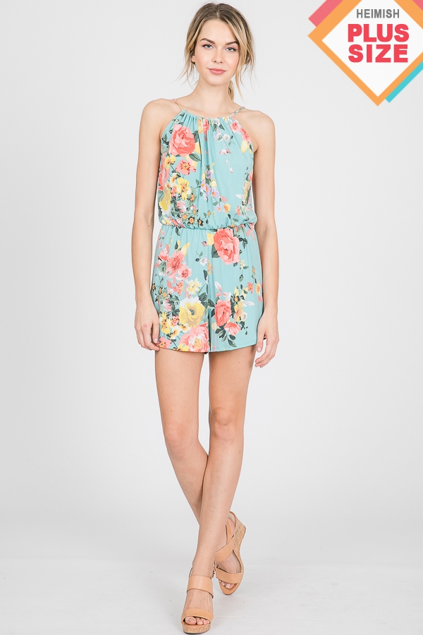 FLORAL PRINT ROMPER WITH KEY HOLE AN - orangeshine.com