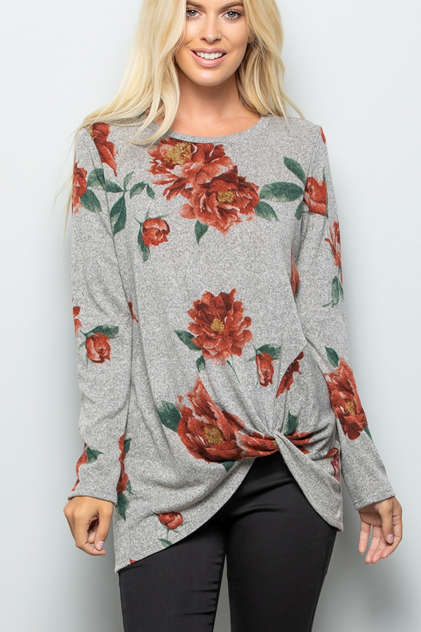 TWIST KNOT FLORAL PRINT TOP - orangeshine.com