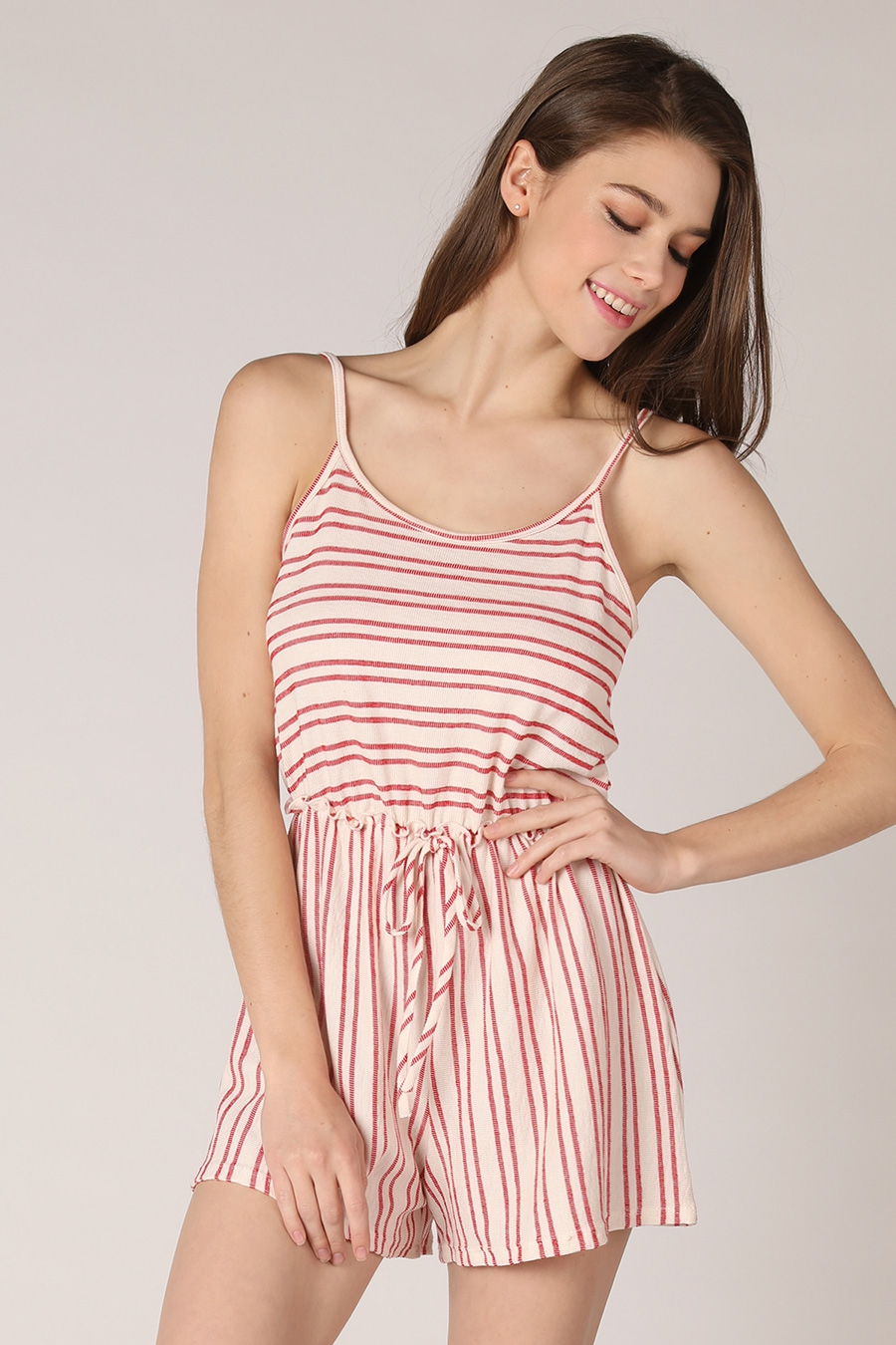 Striped Front Tie Romper - orangeshine.com