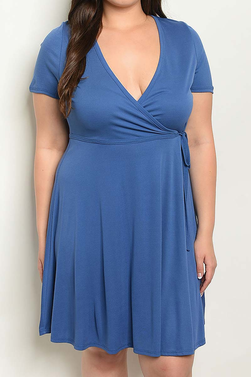 WRAP PLUS SIZE SOLID V NECK DRESS - orangeshine.com