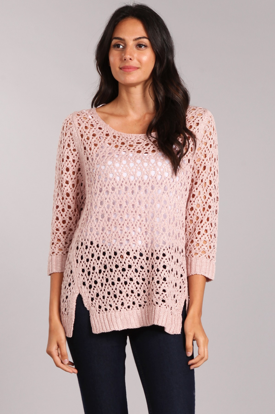 Crochet Knit Tunic Top - orangeshine.com