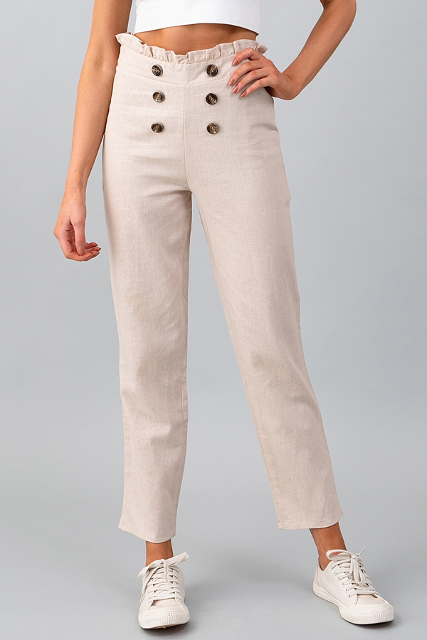 DOUBLE BUTTON PAPER BAG LINEN PANTS - orangeshine.com