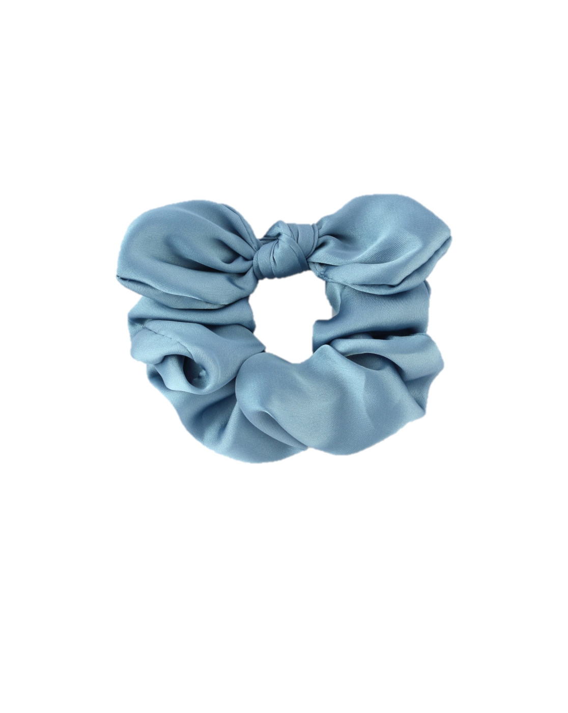 Light Blue Satin Knot Scrunchie - orangeshine.com