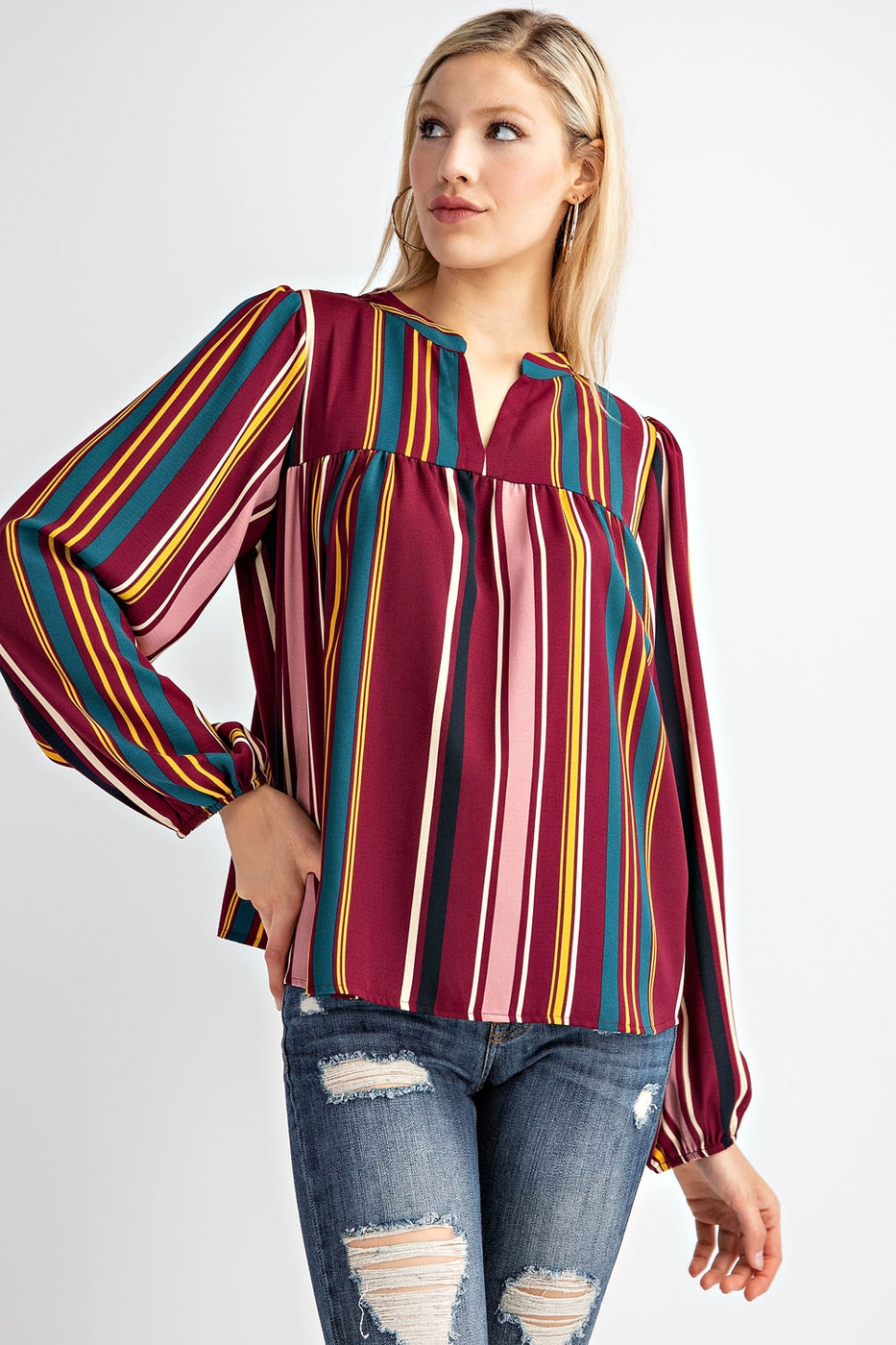 VERTICAL STRIPE JACQUARD BLOUSE TOP - orangeshine.com
