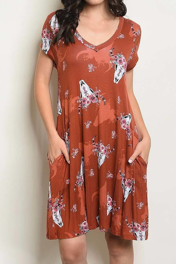 BULL HEAD PRINT POCKETS TUNIC DRESS - orangeshine.com