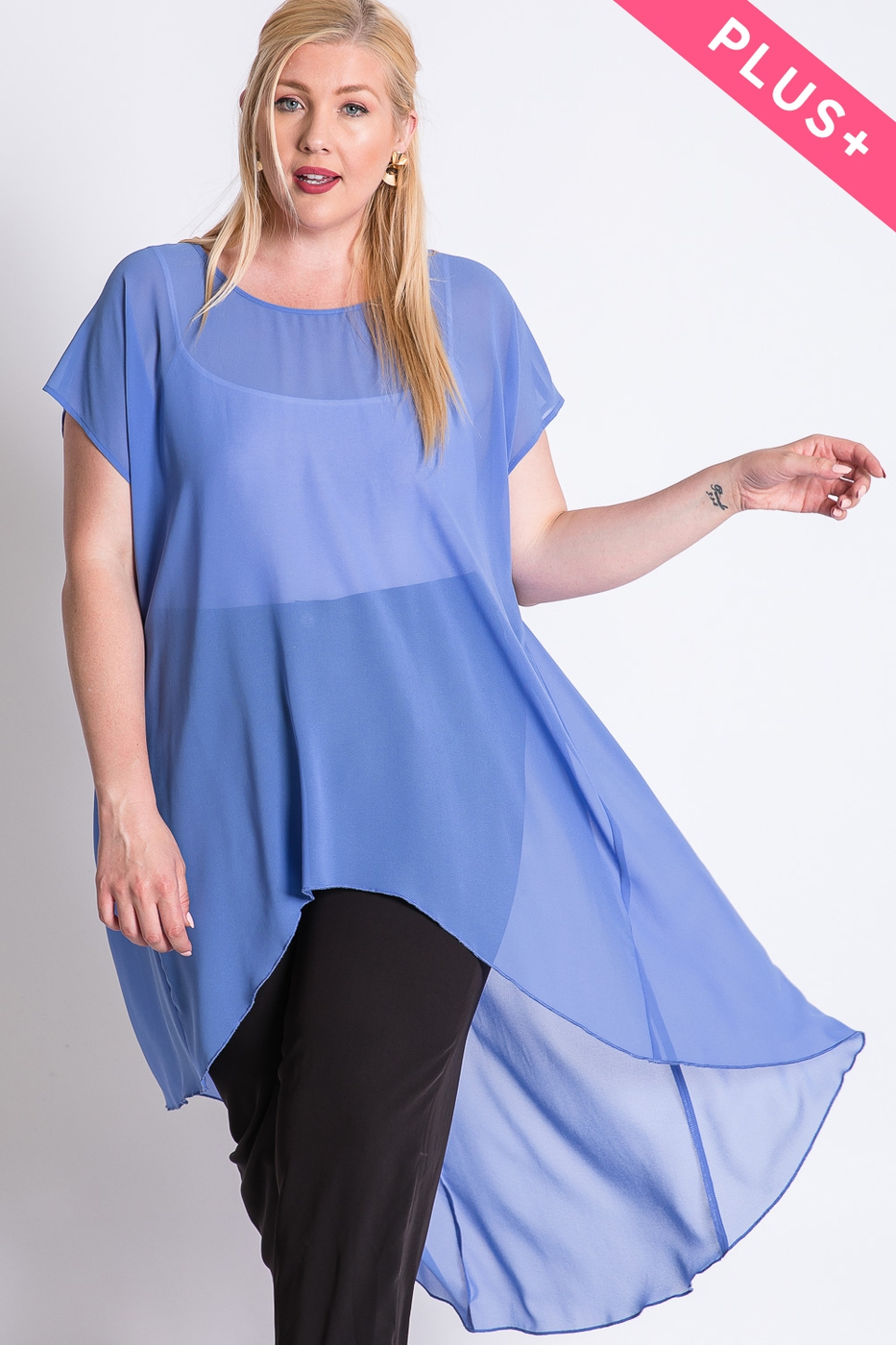 SOLID BASIC SHORT SLEEVE HI-LO TUNIC - orangeshine.com