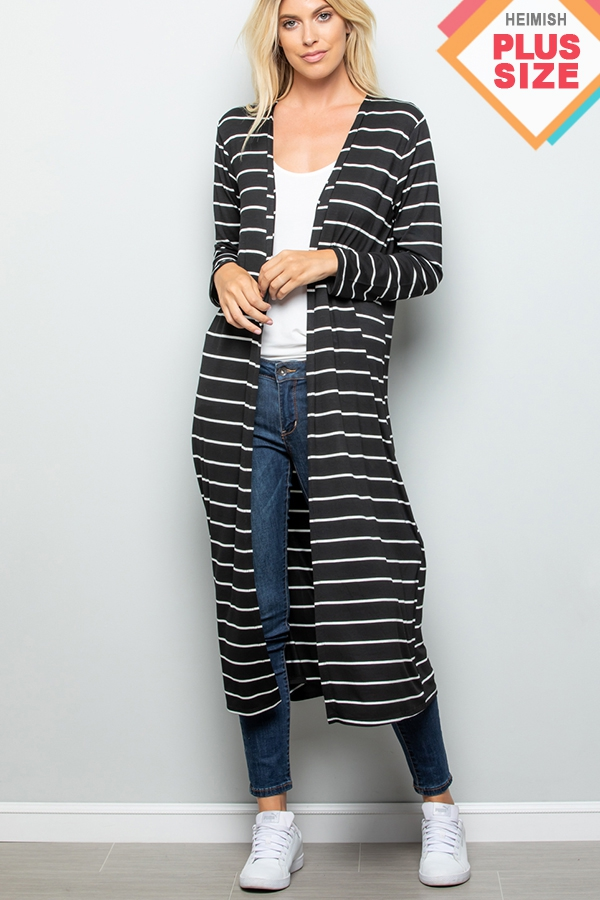 PLUS STRIPE PRINT MAXI CARDIGAN - orangeshine.com