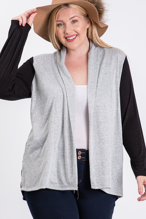 Plus Two Tone Open Front Cardigan - orangeshine.com