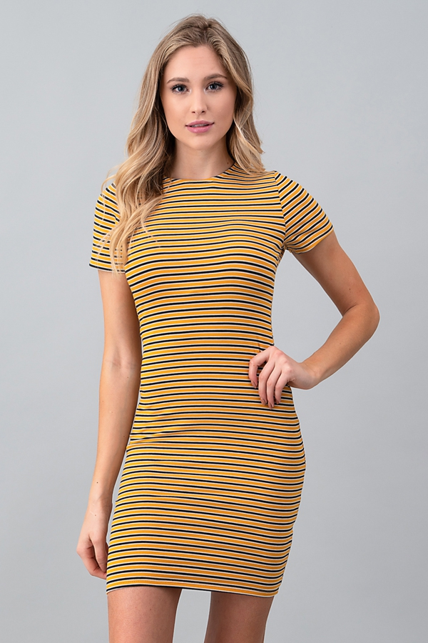 SHORT SLEEVE CREW NECK DRESS - orangeshine.com