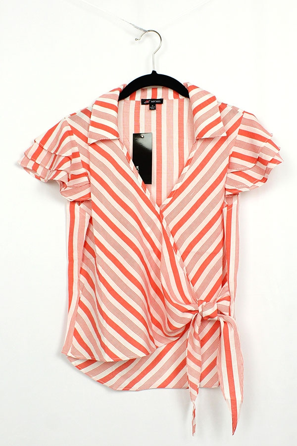 Striped Side Tie V Neck Top - orangeshine.com